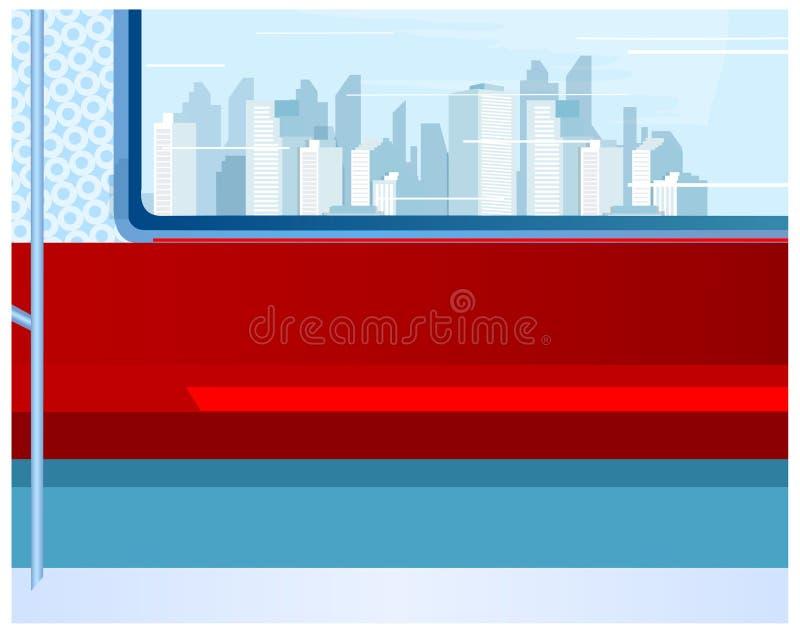 Ansicht der Skyline vom Serienfenster vektor abbildung