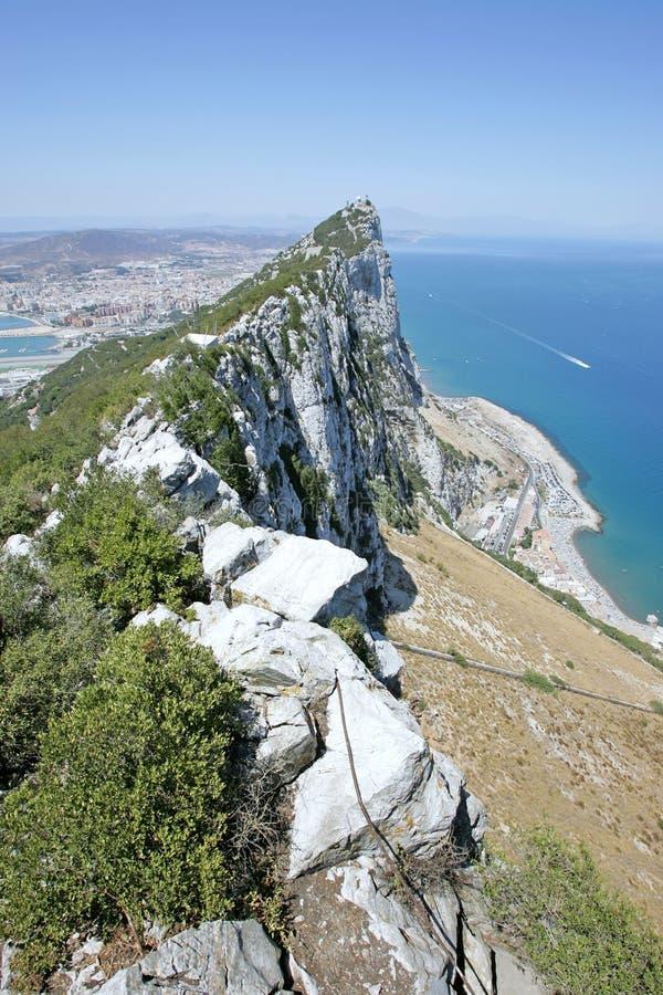 Ansicht der Spitze des Felsens von Gibraltar stockfotografie