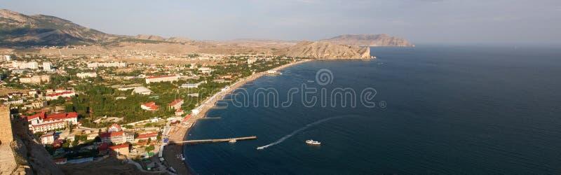Ansicht der Stadt Sudak in Krim auf der Krimhalbinsel stockbilder