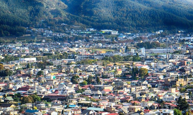Ansicht der Stadt von Fujiyoshida, Japan stockbild