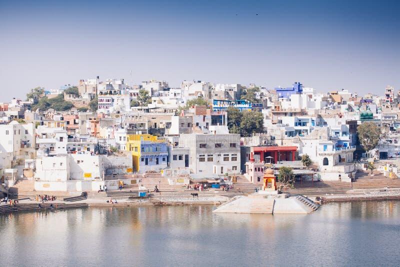 Ansicht der Stadt von Pushkar, Rajasthan, Indien lizenzfreies stockfoto