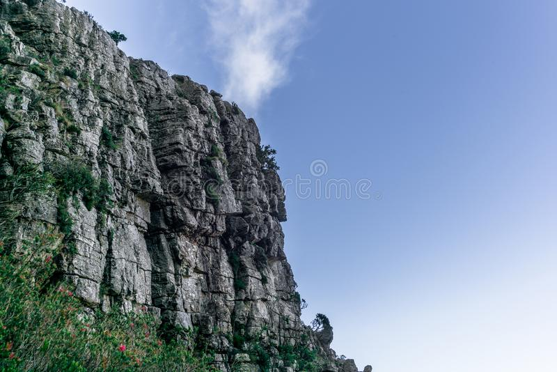 Ansicht der steilen felsigen Wände des Tafelbergs in Cape Town - 1 lizenzfreie stockfotos