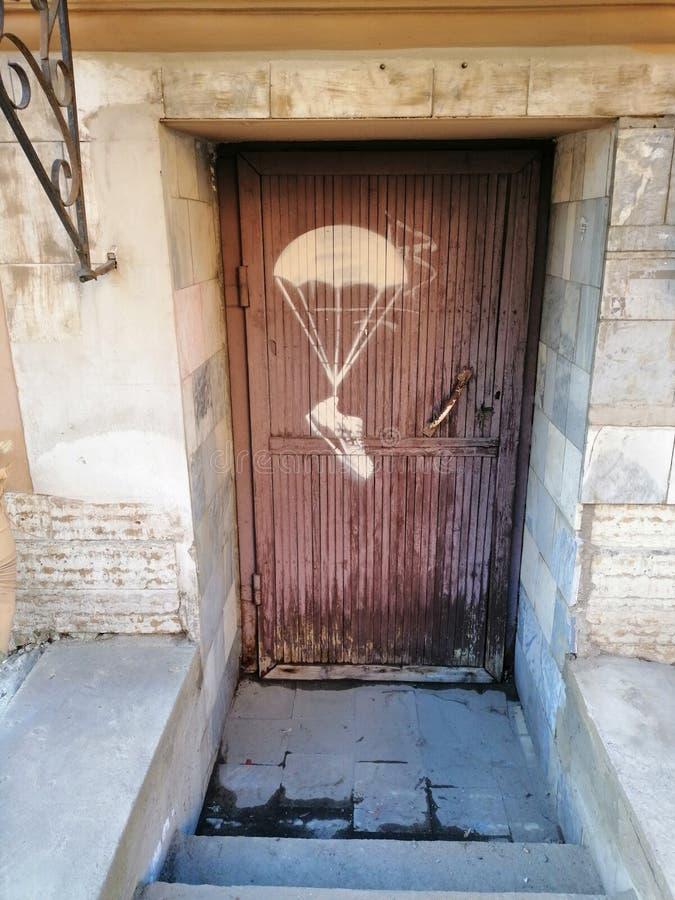 Ansicht der Tür mit einem Bild lizenzfreie stockfotografie