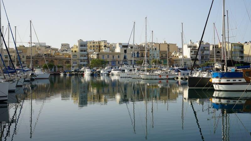 Ansicht der Valleta-Yachtbucht, Malta lizenzfreies stockfoto