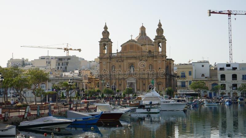 Ansicht der Valleta-Yachtbucht, Malta lizenzfreie stockbilder