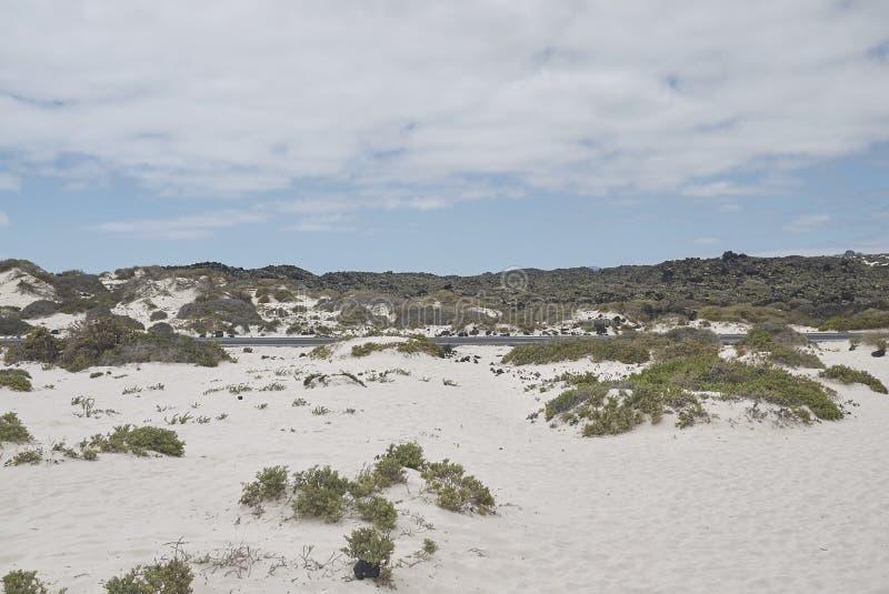 Ansicht der weißen Sande von Caleta de Mojon Blanco lizenzfreie stockfotos