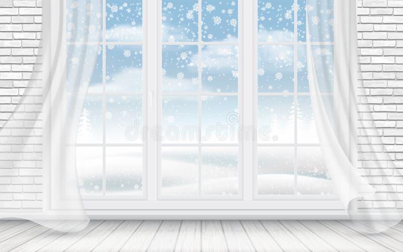 Ansicht der Winterlandschaft durch das Fenster lizenzfreie abbildung