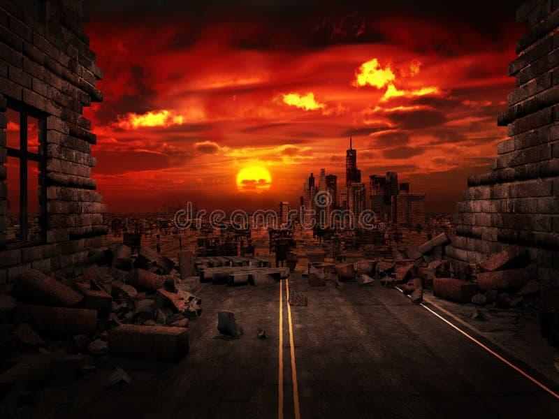Ansicht der zerstörten Stadt lizenzfreie abbildung