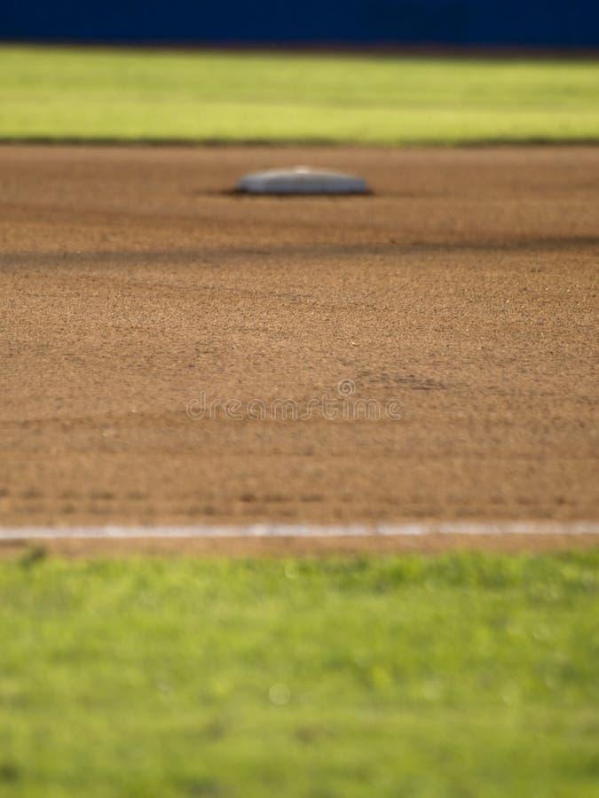 Ansicht der zweiten Base eines Baseballfeldes lizenzfreie stockbilder