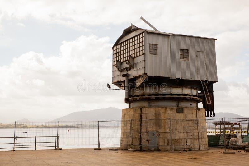 Ansicht des alten Kranes, Santander stockfotografie