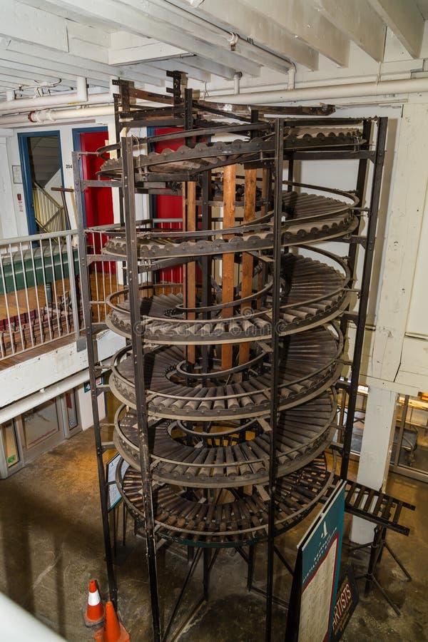 Ansicht des alten Weinlesevertikalen-Spiralenförderers und anderer Teile lizenzfreies stockfoto