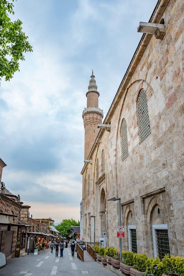 Ansicht des Bursa-großartigen Moschee oder Ulu Camis in Bursa, die Türkei stockfotografie