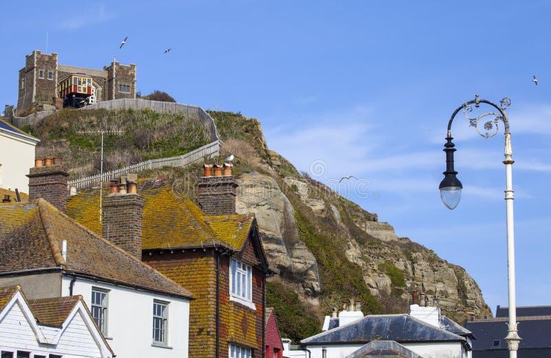 Ansicht des Clifftop und Ostder hügel-Eisenbahn in Hastings stockfoto