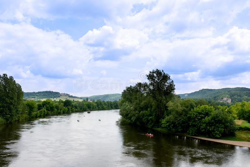 Ansicht des Dordogne-Tales stockbilder