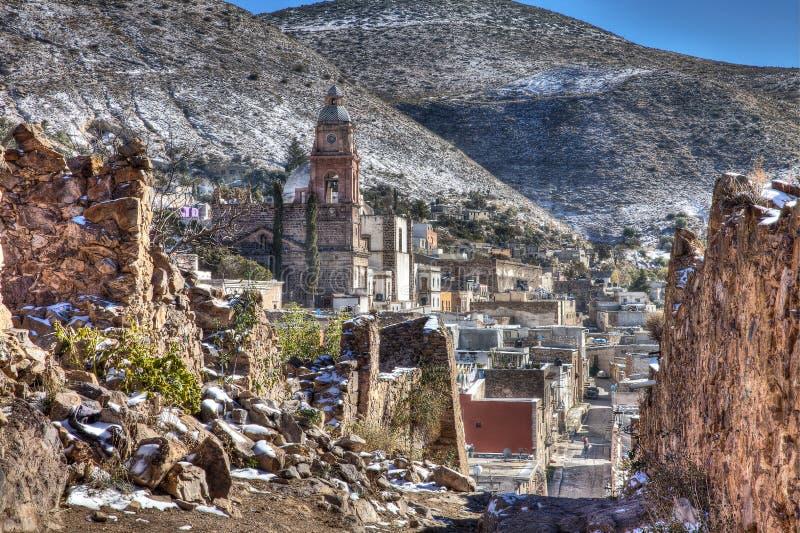 Ansicht des Dorfs von Real de Catorce, Mexiko stockbild