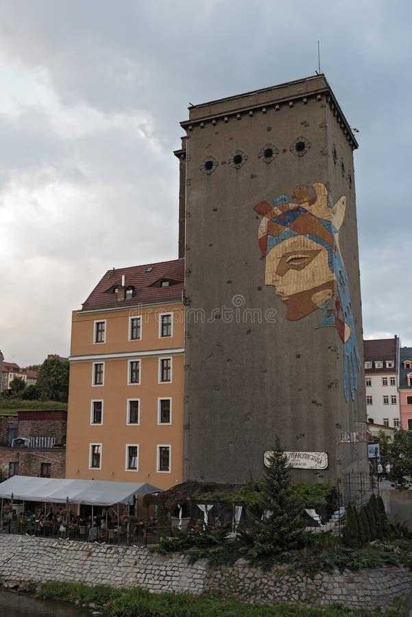 Ansicht des Dreiradenmühle bei Lusatian Neisse in Zgorzelec, Polen stockfoto