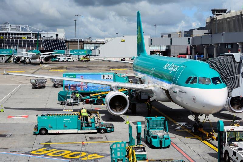 Ansicht des Dublin-Flughafenschutzblechs und des St. Malachy Aer Lingus A320 Airbus vom Fluggastterminal lizenzfreies stockbild