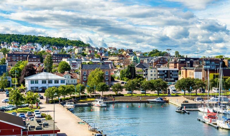 Ansicht des Fährhafens bei Horten - Norwegen lizenzfreies stockbild