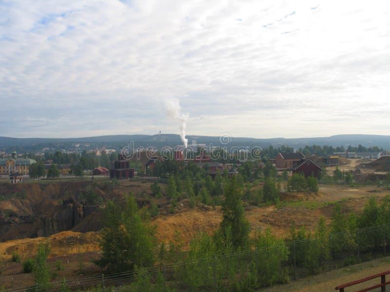 Ansicht des Falun-Bergwerkes stockbilder