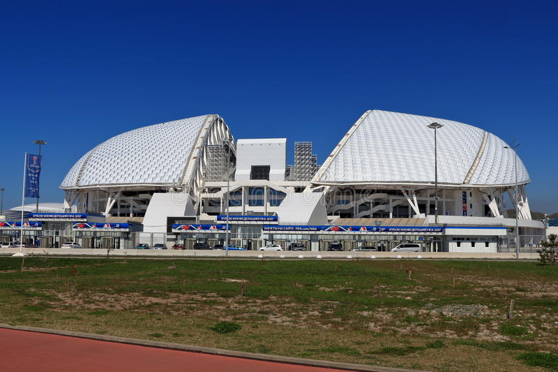 Ansicht des Fisht-Stadions im Olympiapark, Russland stockfotografie