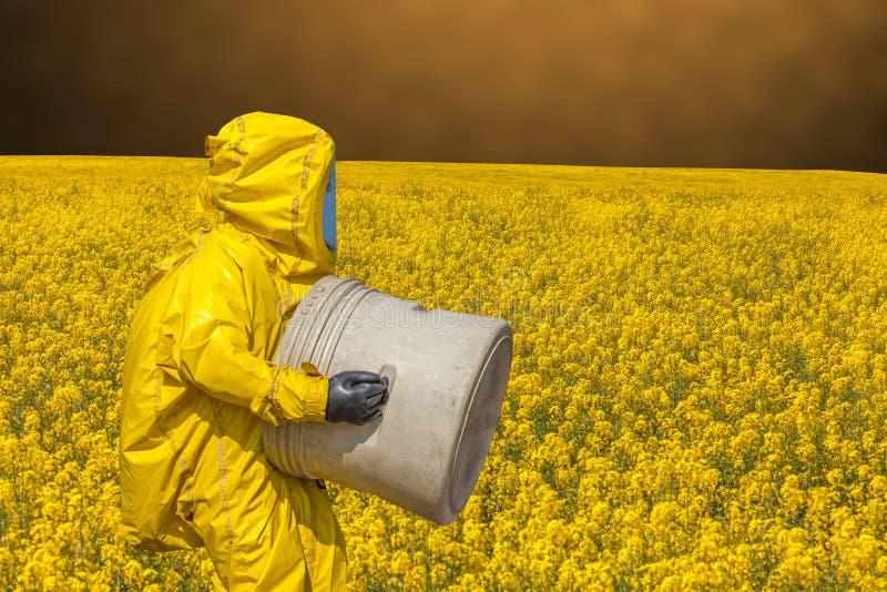 Ansicht des gelben Rapsfelds und der Männer in schützender hazmat Klage stockfotografie