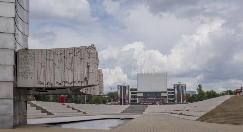 Ansicht des Gorky-Theaters vom Erinnerungsstele stockbilder