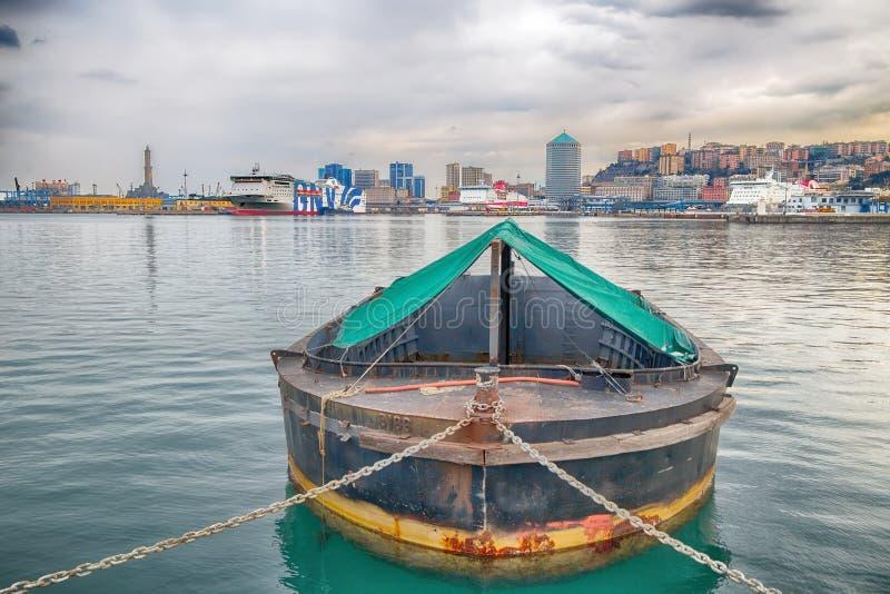 Ansicht des Hafens von Genoa Genova, Italien stockfotografie