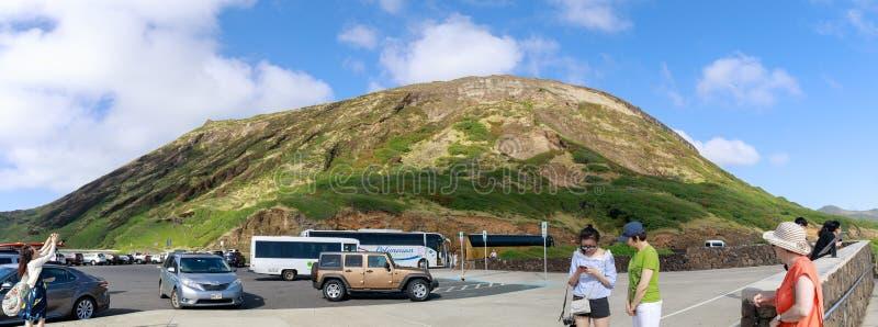 Ansicht des Halona-Luftloch-Ausblickes, Touristenattraktion in Oahu-Insel stockfotos