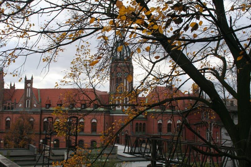 Ansicht des historischen Postgebäudes, Chorzow, Polen lizenzfreie stockbilder