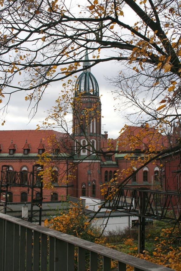Ansicht des historischen Postgebäudes, Chorzow, Polen lizenzfreie stockfotografie