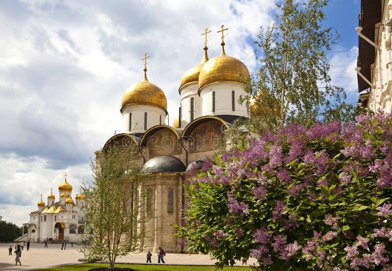 Ansicht des Kathedralenquadrats des Moskaus der Kreml mit dem Annahme- und Ankündigungskathedralenim frühjahr Tag, Moskau stockbild