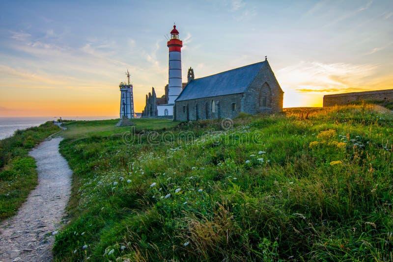 Ansicht des Leuchtturmes des Heiligen Mathieu in Bretagne - Frankreich stockbilder