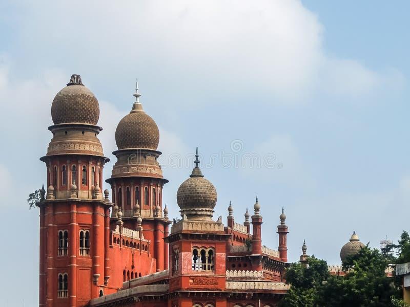 Ansicht des Madras-Gesetzescollegegebäudes in Chennai lizenzfreies stockbild