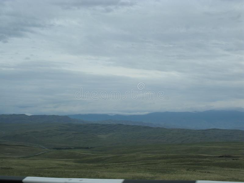 Ansicht des Minusinsk-Beckens im zentralen Teil von Khakassia an einer Höhe von 250 Metern über Meeresspiegel lizenzfreie stockbilder