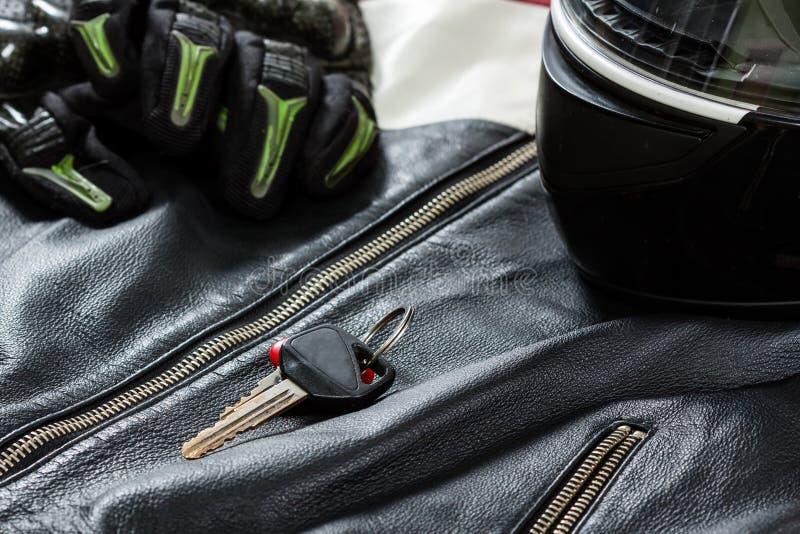 Ansicht des Motorradreiterzubehörs stockfoto