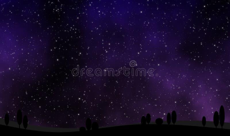 Ansicht des nächtlichen Himmels mit vielen spielt Illustrationsdesignhintergrund die Hauptrolle lizenzfreie abbildung