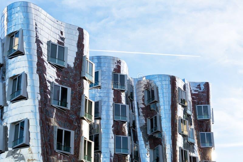 Ansicht des Neuer Zollhof im Media-Hafen in Dusseldorf, Deutschland stockfoto