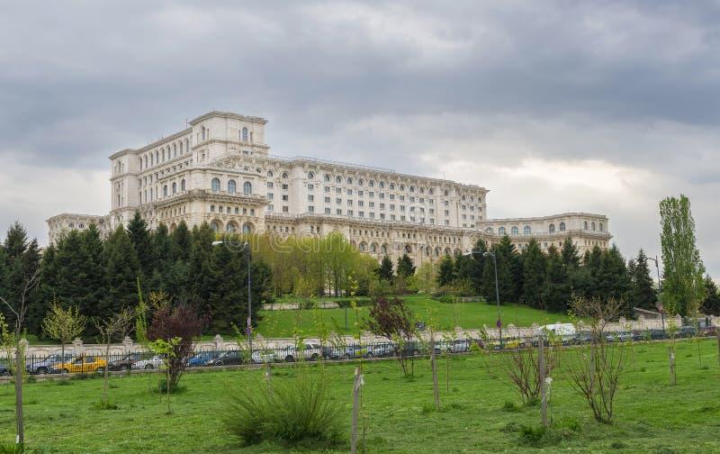 Ansicht des Palastes des Parlaments rief auch Casa Poporului an stockfotografie