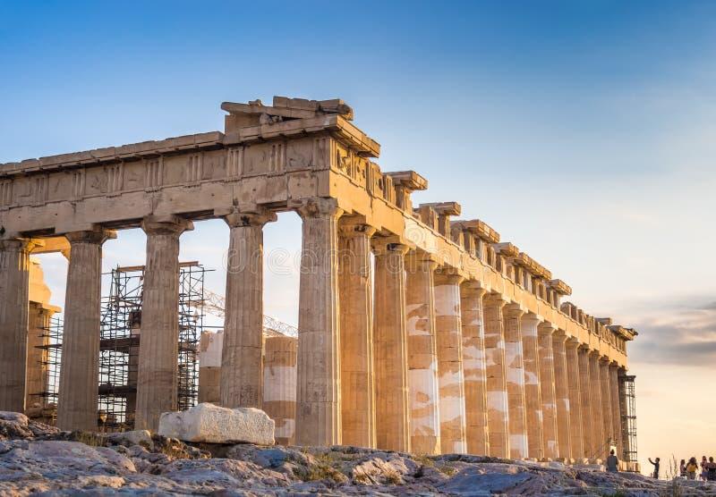 Ansicht des Parthenons auf Akropolise, Athen, Griechenland bei Sonnenuntergang lizenzfreies stockfoto