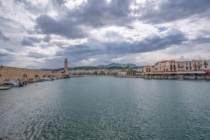 Ansicht des Rethymno, des Hafens und des Leuchtturmes, Kreta, Griechenland, Eur stockbild