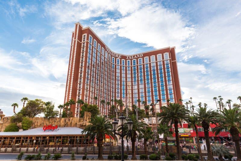 Ansicht des Schatz-Insel-Hotels und des Kasinos, LAS VEGAS, USA stockfotos