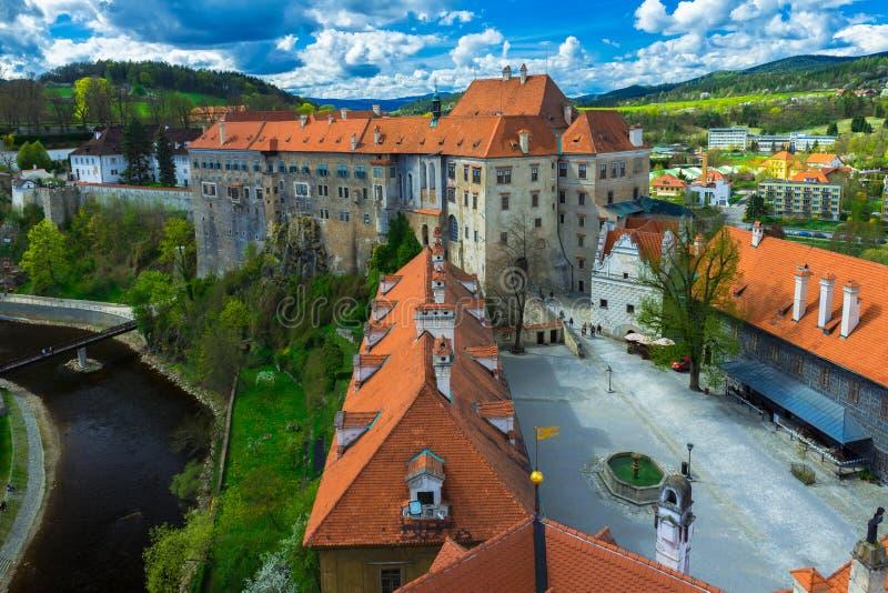 Ansicht des Schlosses in Cesky Krumlov, Tschechische Republik stockfoto