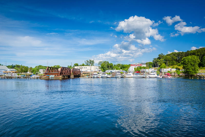 Ansicht des Seekonk-Flusses, in Providence, Rhode Island lizenzfreies stockfoto