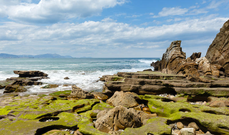Ansicht des Strandes Azkorri oder Gorrondatxe stockfoto