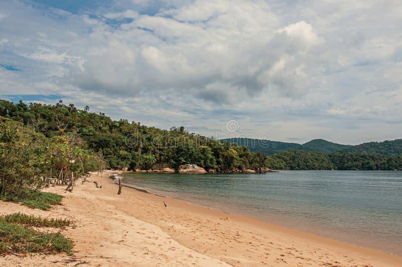 Ansicht des Strandes, des Meeres und des Waldes am bewölkten Tag in Paraty Mirim lizenzfreie stockbilder