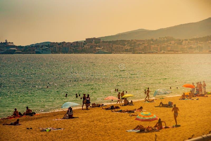 Ansicht des Strandes von Palma de Mallorca stockfotos