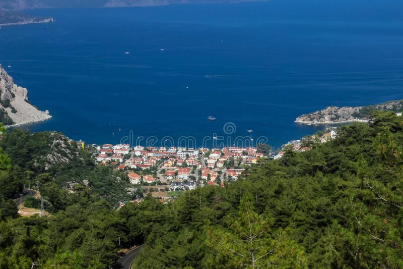 Ansicht des Türkischen Riviera Turunc - Marmaris vorbei stockbild
