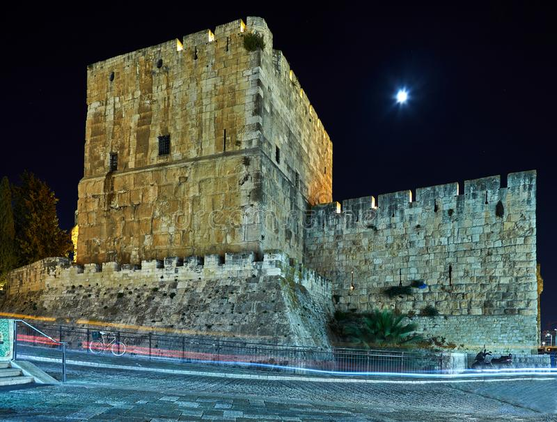Ansicht des Turms Königs David s in alter Jerusalem-Stadt nachts stockfotos