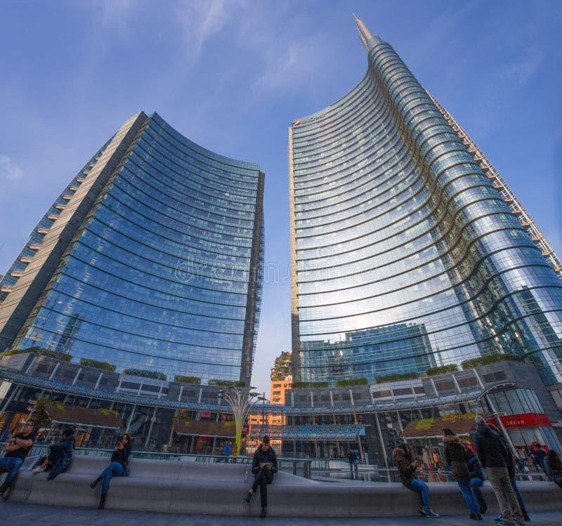Ansicht des Unicredit-Turms in Quadrat Gael Aulentis, der Geschäftsbereich nahe Garibaldi-Bahnstation, Mailand, Italien lizenzfreie stockfotografie