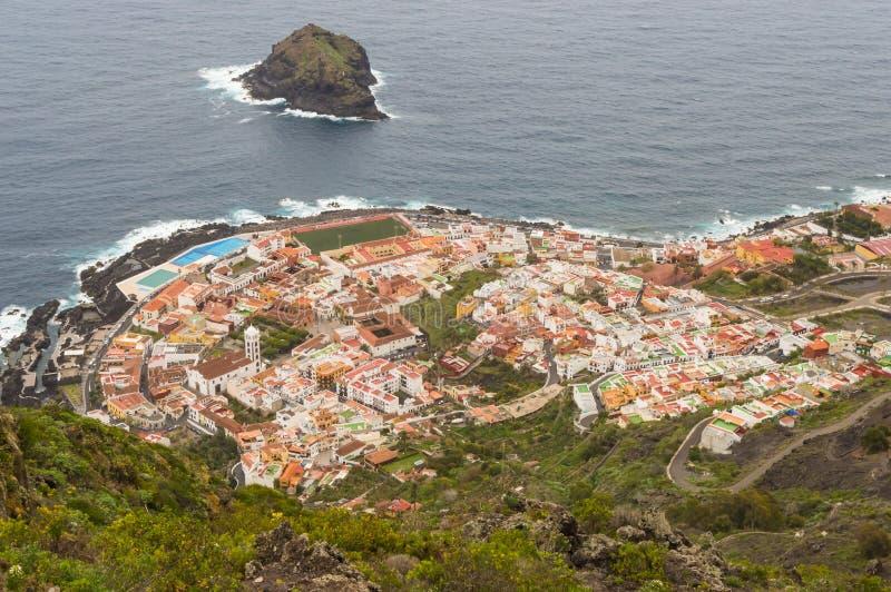 Ansicht in die Spitze der Stadt von Garachico stockfotografie